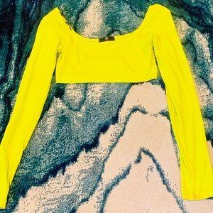 Neon Lime Scoop Neck Long Sleeve Crop Top